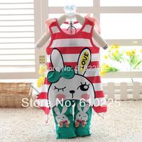 New 2014 Cute Children Clothing Set Cartoon Rabbit Bamboo Fiber Girls' Clothing Sets Child Summer Suits For Girls