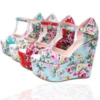 vintage national trend print wedges sandals customize small yards 30 31 32 bohemia plus size sandal shoe