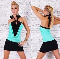 2014 New Style Women Sexy Mini dress Ladies Halter Fluorescent green + Black Sleeveless Cocktail Clubwear