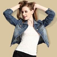 2014 spring long-sleeve denim outerwear female turn-down collar slim denim jacket coat short jacket