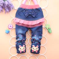 2014 girl spring denim pants rabbit jeans trousers
