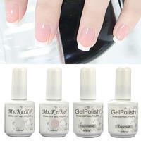 Gel Nail Polish French White Pink color 4PCS Shellac Gelishgel UV LED Soak Off