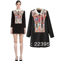 2014 print peter pan collar one-piece dress long-sleeve fashion one-piece dress female 2183 - 44
