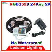 30pcs/lot LED strip light 3528 SMD RGB white blue green red yellow 5m 300 LEDS no waterproof DC12V 2A 60 led/m 24Key tape diode