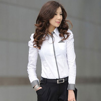 2014 Women's Brand Fashion long Sleeve White Shirt puff sleeve OL blouse one-piece shirt novelty Body Blouse for office lady
