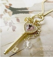 Min order $10 (mix order) Han edition long purple crystal love golden crown key necklace