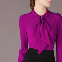 Free Shipping 2014 Spring Fall Elegant Bow Collar Long Sleeve Purple Shirt Blouse Career Tops For Woman Size M- XL 66202