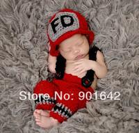 1 Set Retail Newborn photo props-crochet baby firefighter set-fireman hat-newborn suspender pants-fireman helmet-firefighter