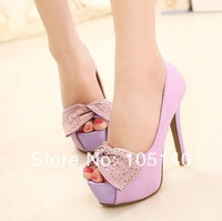 party shoes woman 2014 ladies open toe sandals peep toe platform pumps sexy thin high heels fashion rhinestone bowtie