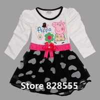 Kid Apparel New 2014 Spring Peppa Pig Clothes Long Sleeves Dress With Bowknot Girls Dresses For Child Party Dress Clothing