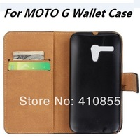 Magnetic Closure Genuine Leather Case For Motorola MOTO G phone Stand wallet Cover, with card slot, 50pcs/lot