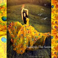 Fashion Printed silk chiffon  fabric for one-piece dress peacock printed