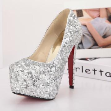 2014 Newest Designer Sexy Pumps Red Bottoms High Heels Women Paillette Glitter Bridal Dress Dress Women's Wedding shoes 168-10(China (Mainland))