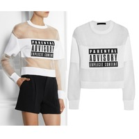 Lady's Fashion Cool White/black Parental Advisory Explicit Content Mesh and Jersey Sheer Sweatshirt Combo Top