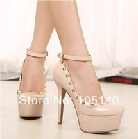 spring autumn black nude fashion rivets party shoes woman 2014 ladies ankle strap pumps sexy thin high heels buckle
