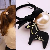 Hair accessory leather wooden horse pearl bow headband hair accessory rubber band