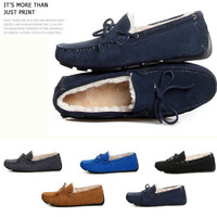 2013 Winter New Fashion Driving Bow Moccasins Men Genuine Leather Loafers Fur Lined Suede Shoes Indoor Outdoor Slipper Flats