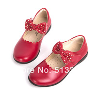 Free shipping the new 2014 spring bowknot is natural leather children's shoes