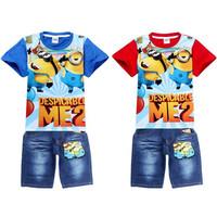 Summer Minion Clothes Sets Despicable Me Children t shirts + Pants sports suit Baby Boy Clothing Set Minions Kids Clothes Sets
