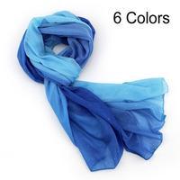 2014 New Fashion spring -summer Long Voile Scarf women Gradual colors warm Scarf Wrap shawl female long design free shipping