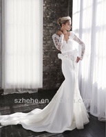 JM.Bridals CY2141 Glamorous Mermaid Chapel train Steven Khalil Lace long sleeve wedding gowns