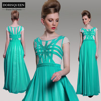 DORISQUEEN Free Shipping New Arrival Rhinestone  Floor Length A-line  Green Long Prom Dresses 2014