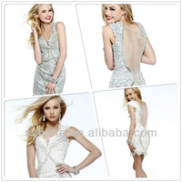 New Desgin CW2002 Adorable cap sleeve short backless beaded lace see through cocktail dress