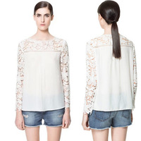 ZZ936  Free  Shipping  Women 2014 Summer Casual Hook Flower Rotator Cuff Stitching Chiffon Round Neck Long Sleeve blouse