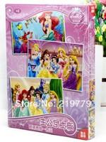 3 Puzzles(28+48+88pcs)/box Cartoon Brain Teaser Paper Puzzles Box Children Kids Princess Mickey Mouse Winnie Educational Toy