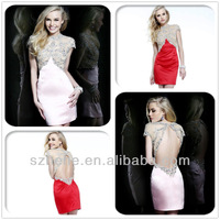 New Desgin CW2003 Pretty red or pink high neck short sleeve sexy party dress open low back cocktail dress