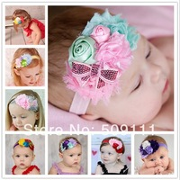 Retail Spring Easter Headband Baby Girl Headbands Infant Toddler Chiffon Flowers and Pearls Headband Shabby Chic Baby 1pc HB231