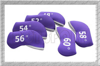 6x Purple Golf Iron wedge Head Covers Cover Neoprene Case Pocket Set Free Shipping