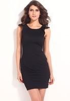 Free shipping!! New Sexy Noble Black Textured Bodycon Dress with Ruffled Backless LC21078