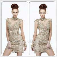 New Desgin CW2004 Unique champagne high neck lace short prom dress western cocktail dress