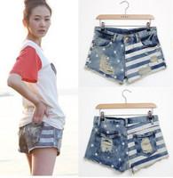 2014 female fashionable casual fitness shorts distrressed stripe flag print denim shorts sale cheap women's  vintage shorts