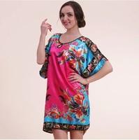 Real 6XL Ladies Sexy Silk Print Dress Summer Women's Elegant Casual Loose Plus Large Size Lounge 2014 Fashion Sleep Tops