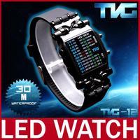 2014 New TVG Men LED Display Watch Stainless Steel Iron Samurai Watch For Men Women Sport Digital Watch Wristwatch Waterproof