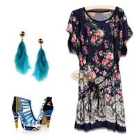 2Color L-4XL Plus Size Casual Sexy Women Floral Print Dress Slim Lady Girl Dress Big Large 3XL XXXL XXXXL 2014 Fashion Summer