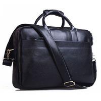 2014 New Black Color Genuine Leather Briefcase For Men Business Travel Bag 13 Inch Laptop Shoulder Bag Handbags Messenger Bag