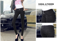 2014 new black skinny women's casual jeans, elastic small pencil pants