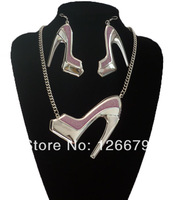 2014 New Fashion Sexy High-heeled Shoes Necklace Earrings Jewelry Set For Women