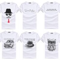 Men's Printed Cotton Casual T-Shirt 2014 New Cartoon Owl/Car/Lettler Style White Tshirt Top Tee For Men  Wholesale Dropship CJ13