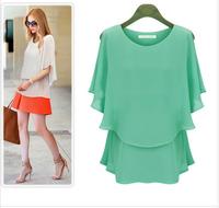 Free Shipping! 2014 Summer chiffon shirt plus size Fat mm women's loose Blouse