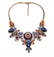 New Arrival j.e.w.e.l luxury Multicolour crystal Jewellry Collage choker bib Crew collar necklace for women wedding party