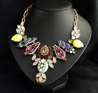 New Arrival j.e.w.e.l luxury Multicolour crystal Jewellry Collage choker bib Crew collar necklace for women wedding party