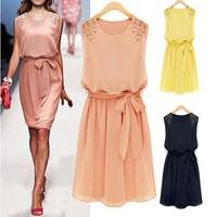 New Spring 2014 Summer Casual  Women Fashion Work Wear Brief Dress Beading Sleeveless Knee-length Chiffon Party Princess Dresses