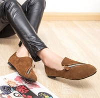 2014 spring and autumn fashion british style women's casual flat shoes zipper flats single shoes lady women