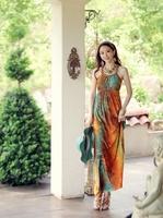 2014 new spring summer lady fashion Bohemian beach one piece long dress, girl sleeveless Vintage dress