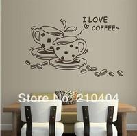 Wall Vinyl Sticker Decals Decor Art Design I love Coffee Kitchen Decal  S-21