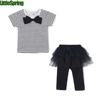 Girls Clothes! 2014 summer arrival child clothing sets Cotton casual suit short sleeve t-shirt+culottes Little Spring GLZ-T0241
